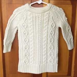 BABY GAP Cable Knit Sweater Dress Ivory SZ 18-24M